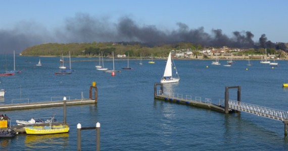 image of Smoke from a fire shrouds East Cowes