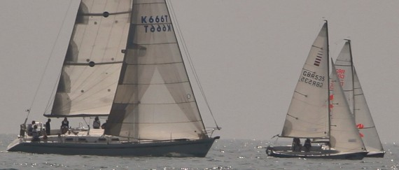 image of Sailing yachts race off Shoreham by Sea