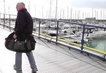 image of Author with new Musto holdall in Brighton Marina