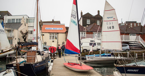 image of Dinghies outside SYC's Southwick clubhouse