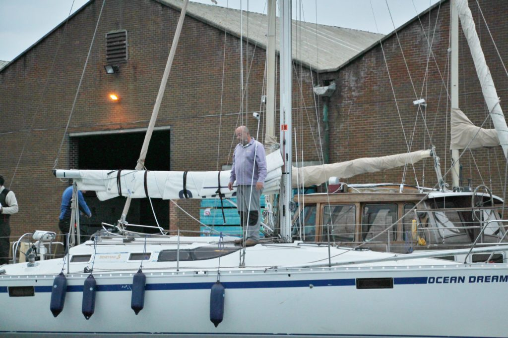 image of SYC's Laurence Woodhams on board his Beneteau Ocean Dream, Shoreham Harbour