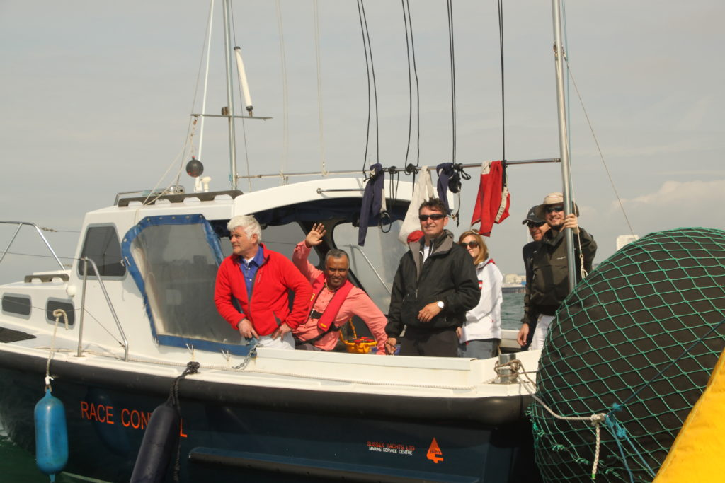 image of Race officer Tim Cork on BMYC committee boat