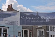 image of Charles Stanley's bunting added colour to Cowes High Street