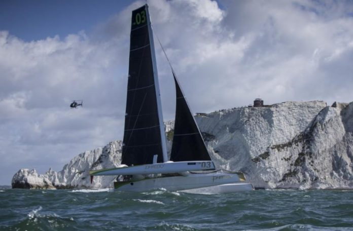 image of The mighty MOD70 Phaedo 3 on a mission - which she achieved big time - in today's J.P. Morgan Asset Management Round the Island Race. Image: Rachel Fallon-Langdon