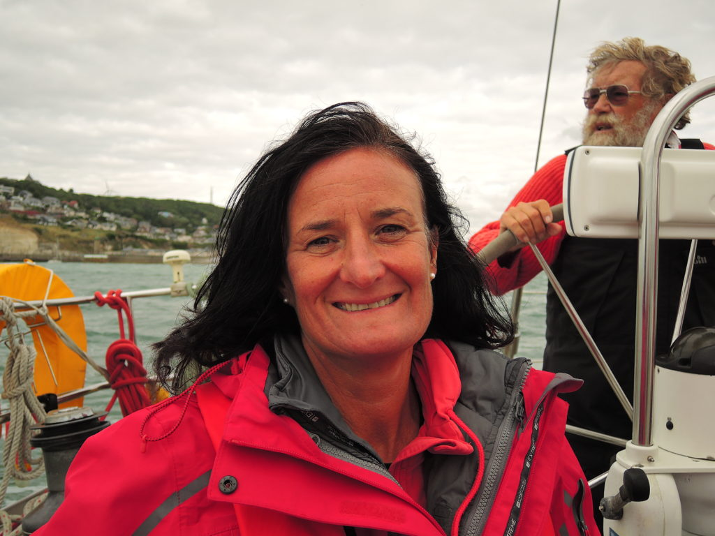 image of crew on Moonlight Saunter look relieved as Fecamp nears