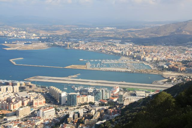 image of view to NW from cable car-the runaway is in Gibraltar but beyond is Spain