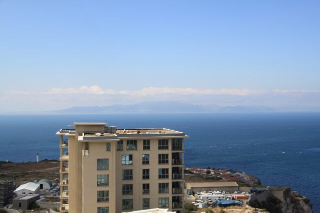 Image of southwards from the Pillars of Hercules has the African shore in the distance