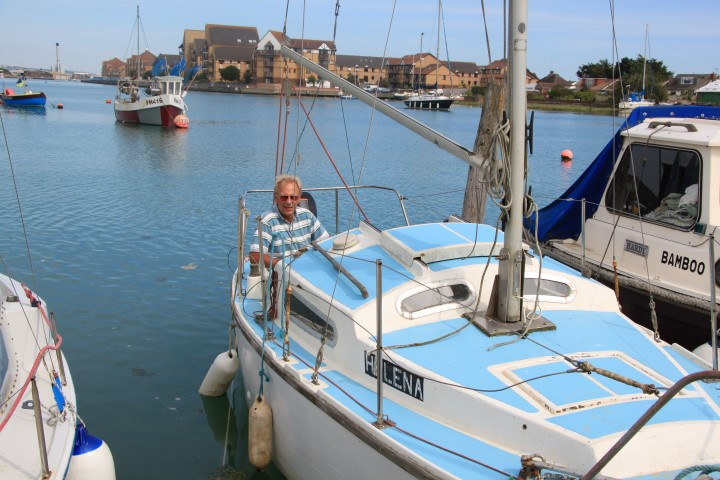 image of Peter Cowley abroad his new boat last year