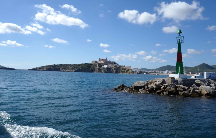 image of Ibiza harbour entrance as seen from water bus