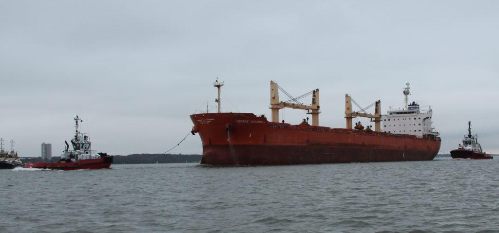 Image of a big ship in Southampton Water