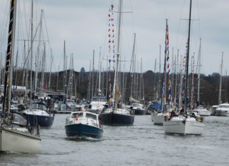 image of Members of The RAFYC assemble in the River Hamble for the RAF 100 parade of sail