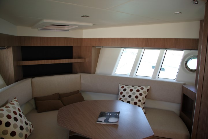 image of The cabin gave an indoor seating area with cooking facilities leading to a sleeping cabin and toilet with shower.