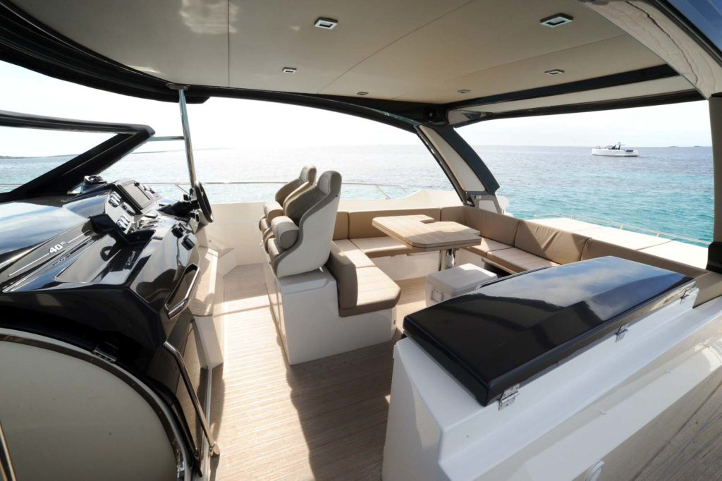 Yacht Charter in Ibiza-part twoimage of photo credit Amoyachts Absolute 40 STL has wide open spaces with effective sunshade roof Yacht charter in Ibiza-part 2