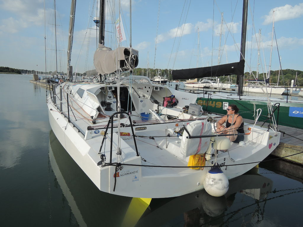 image of Region Normandie at Hamble Marina being readied by support staff