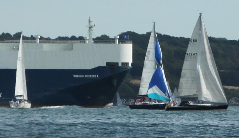 In light airs ships can be a challenge for competitors during Cowes Week 2018