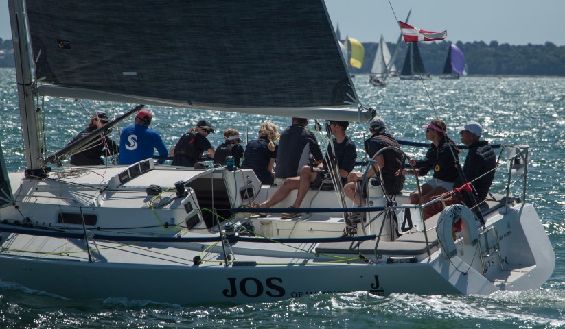 image of J105 Josh close hauled on starboard tack