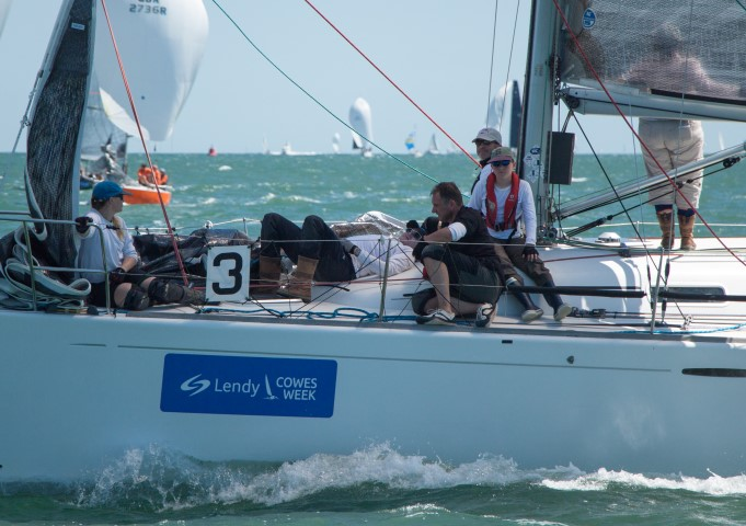 image of crews take a breather on the downwind leg at Lendy Cowes Week 2018 - Day 5