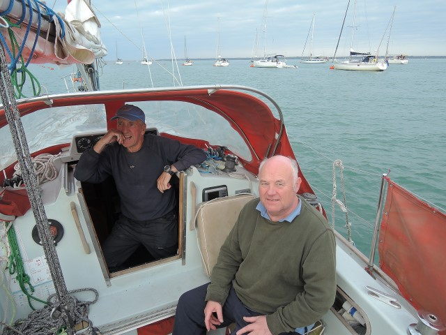image of William Mills (right) and Peter Watson on board Martha Gunn