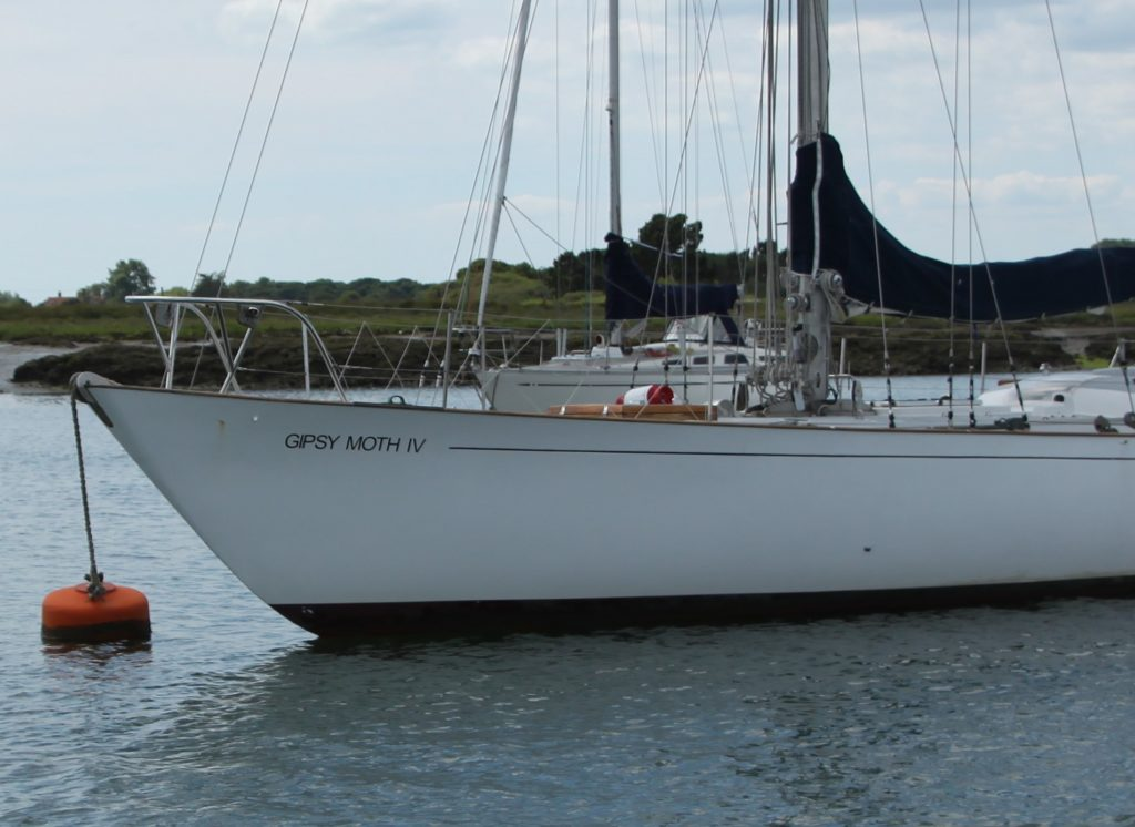 image of Gypsy Moth IV is moored in Beaulieu River