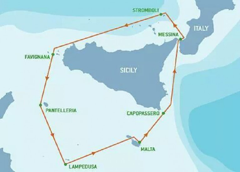 image of map of Middle Sea Race