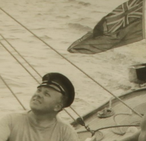 image of Wing Commander Mills sailing in the Solent 1950's