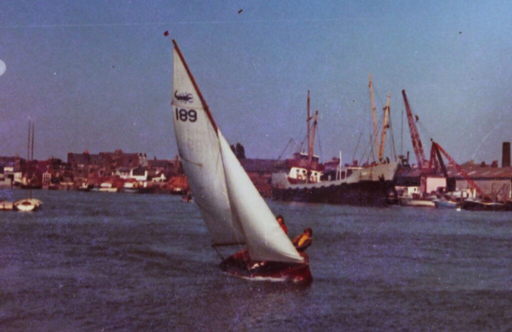image of Scorpion 14ft dinghy sailed by William and his elder brother in William's Biography Littlehampton 1970